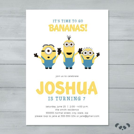 Minion Birthday Party Invitation   Minion by PandafunkCreations