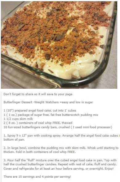 Weight Watchers Butterfinger Dessert...made this as a trifle and came out awesome!