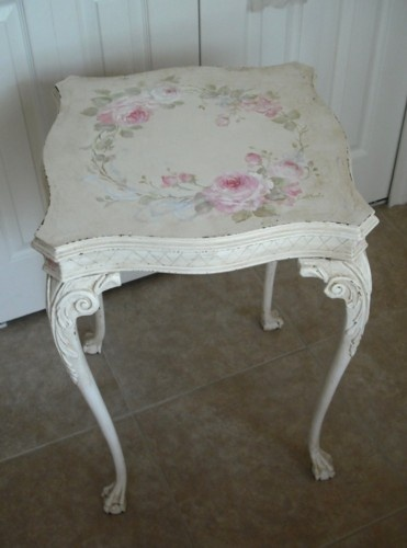 Antique Ornate Roses Table