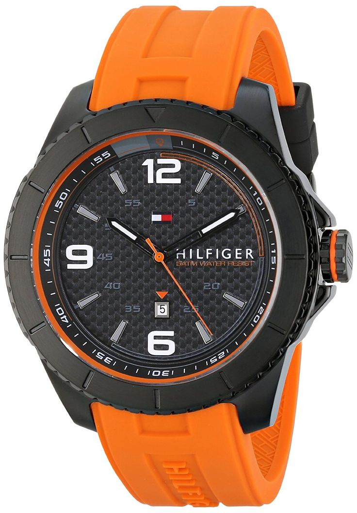 Tommy Hilfiger Men's 1790999 Stainless Steel Watch with Orange Band >>> Continue to the watch at the image link.