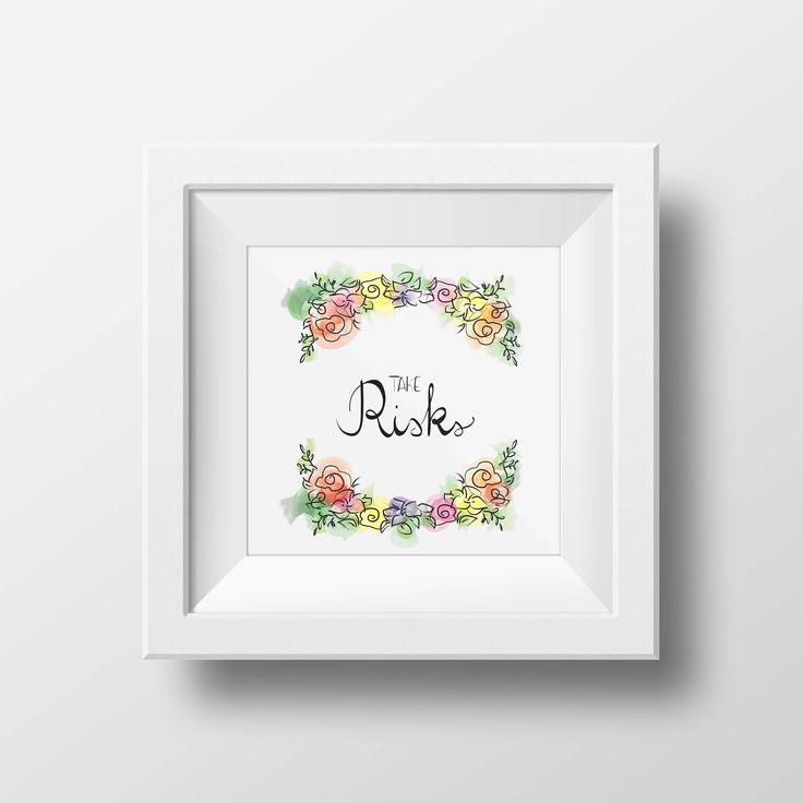 Printable wall art, watercolor flowers, hand lettering, inspirational quote, home decor, instant download, Take Risks di VersusPrints su Etsy