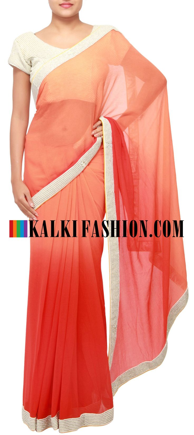 Get this beautiful saree here: http://www.kalkifashion.com/shaded-saree-in-peach-and-red-enhanced-with-pearl-embroidery-only-on-kalki.html Free shipping worldwide.
