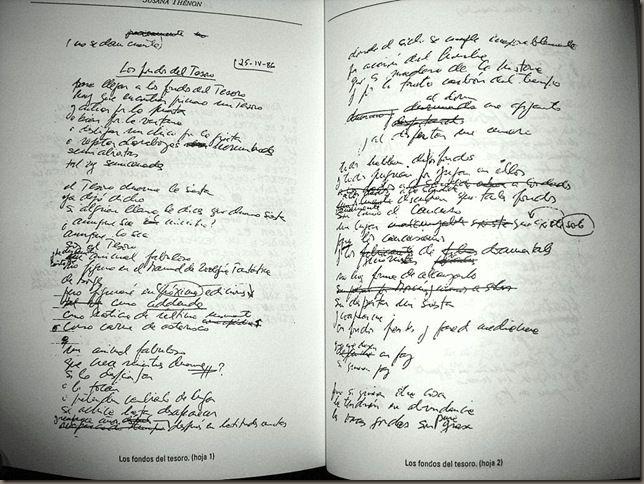 """Susana Thénon, manuscrito de """"Los fondos del Tesoro"""""""