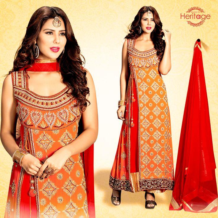 Orange And Red Embroidered Georgette Floor Length Anarkali Suit
