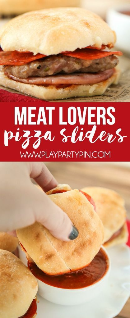 These meat lovers pizza sliders are the perfect Super Bowl food if you want to serve delicious appetizers. Three meats combined inside one amazing slider roll makes  the perfect addition to your Super Bowl party, and one of the easiest Super Bowl recipes you can make! I'm definitely making these for my Super Bowl party this year! Perfect to #SnackOn for the Super Bowl!