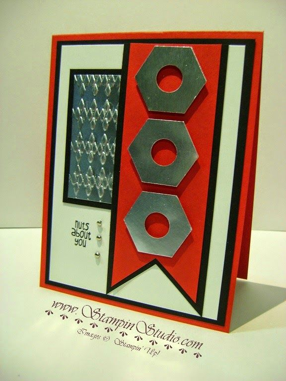 Stampin' Studio, Stampin' Up! Nuts About You, Hexagon Punch, Masculine Card