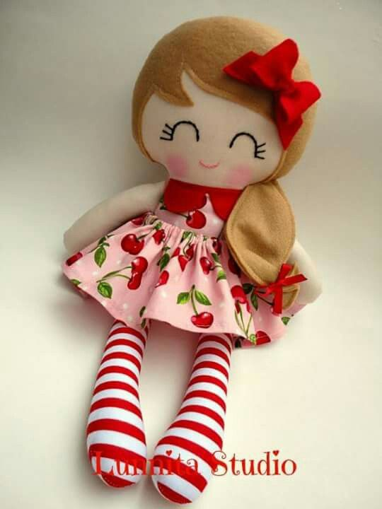 love the cherries and striped leggings and side ponytail on this adorable cloth doll