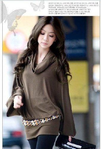 Amazon.co.jp: ミニ ワンピース 無地 レディース カットソー 長袖 セレブスタイル カジュアル ファッション トップス (M, ブラウン): 服&ファッション小物通販