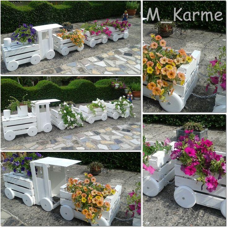 Tren jardinera hecho con cajas de fruta recicladas ideas - Tipos de jardineras ...