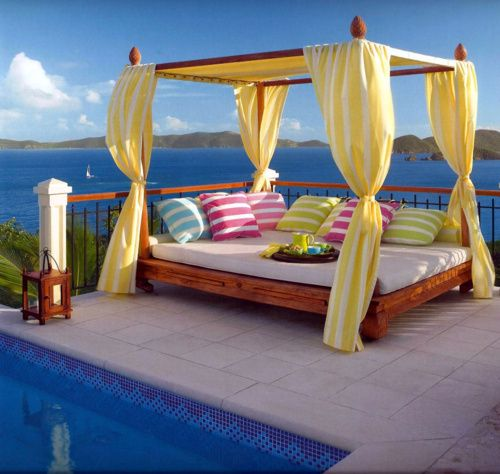 Outdoor Beds, Beach House, Dreams, Colors, Canopies Beds, Places, Pools, Ocean View, Backyards