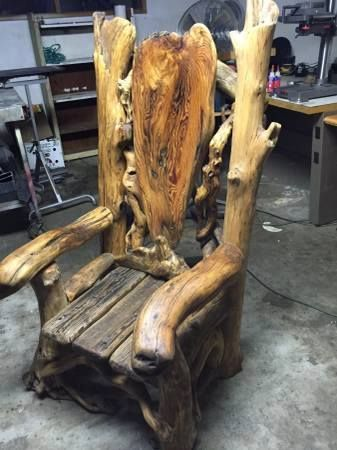This beautifully hand crafted Viking chair made by Scott Padgett of Oregon is a stunning work of art. Made with driftwood. This chair is a one of a kind!