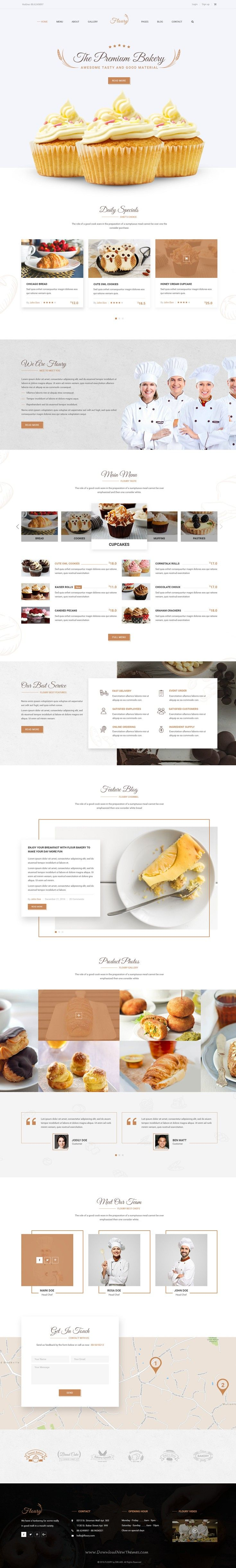 Floury is clean & modern PSD template for #bakery, food, beverage, cuisine…