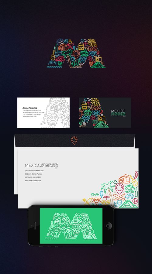 Mexico Finder   A Tourism Portal Lovely branding and typographic logo for Mexico tourism site. The patterns and vibrant colors are effective in communicating Mexico's colorful heritage. I love the fun graphical elements that constructs the M, it's like a collage that tells a story about the country and what you'll experience.