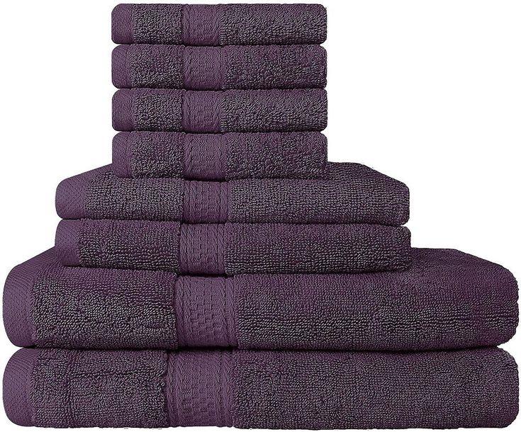 8 Piece Purple Towel Set Bathroom Bridal Idea Utopia Towels Free Shipping
