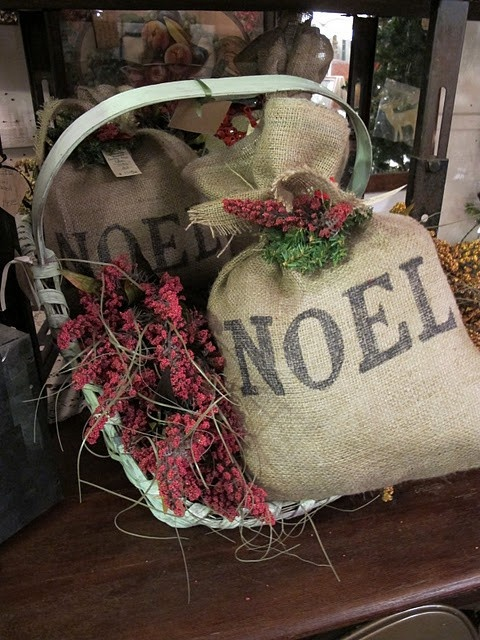 With stencils or printer write on burlap Love the burlap bag.
