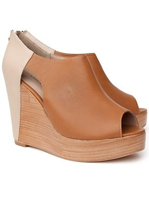 two tone nude wedges