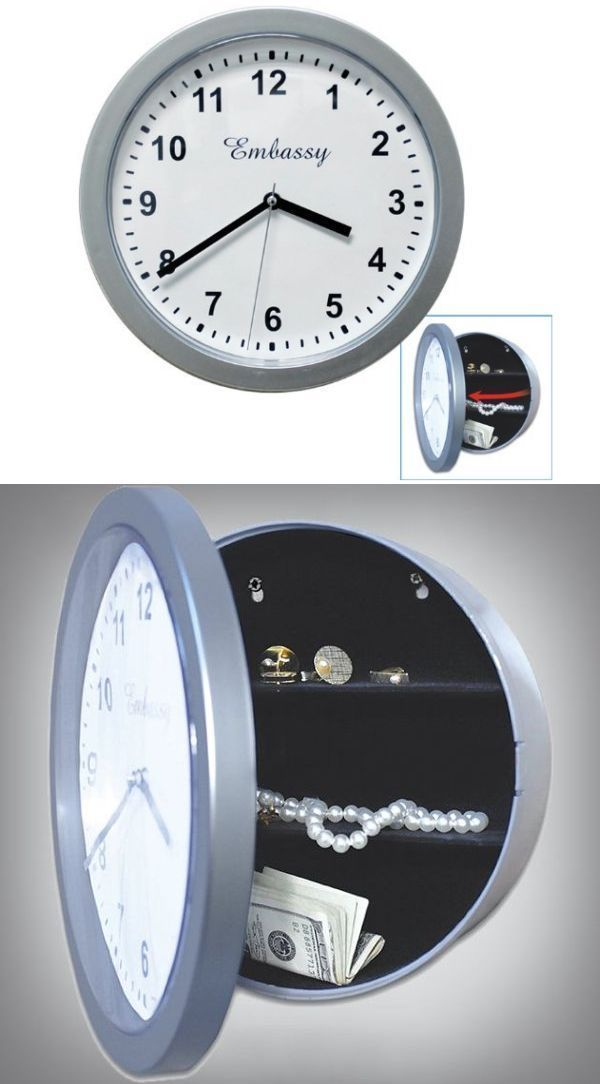 20 Functional Wall Clock Doubles As A Hidden Safe Hidden Safe