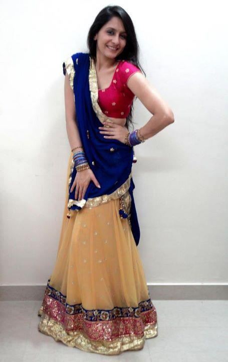 Dusty-yellow lehengha with georgette royal-blue duppatta, by Preet Mangal Couture