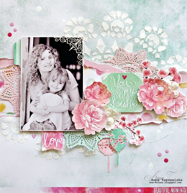 You are my Sunshine' Layout 1- by Anna Zaprzelska Design Team Kaisercraft using their Cherry Blossom Collection - Wendy Schultz ~ Scrapbook Pages 1.