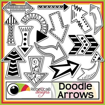 Doodle Arrows contains 20 different doodled arrow clip art, white filled and transparent of each. There are a total of 40 Doodle Arrows in this set and they can be rotated, reduced or increased in size easily. Use these .PNG files to create awesome product covers, worksheets, activities, posters and other teaching resources.