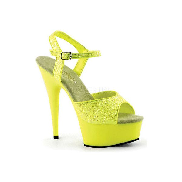 Women's Pleaser Delight 609UVG ($50) ❤ liked on Polyvore featuring shoes, sandals, heels, yellow, glitter platform sandals, yellow high heel sandals, glitter sandals, ankle wrap sandals and ankle strap high heel sandals