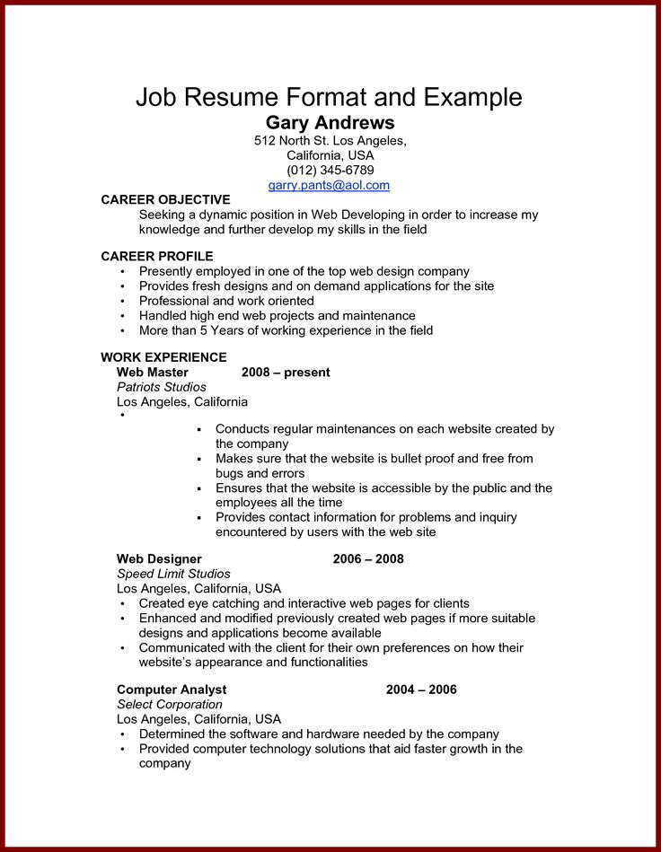 The  Best Resume Format Examples Ideas On   Resume