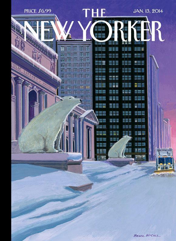 """A look at this week's cover, """"Polar Bears on Fifth Avenue,"""" by Bruce McCall"""
