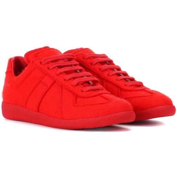 Maison Margiela Replica Felt Sneakers ($615) ❤ liked on Polyvore featuring shoes, sneakers, red, maison margiela, maison margiela trainers, felt shoes, red shoes and red trainers