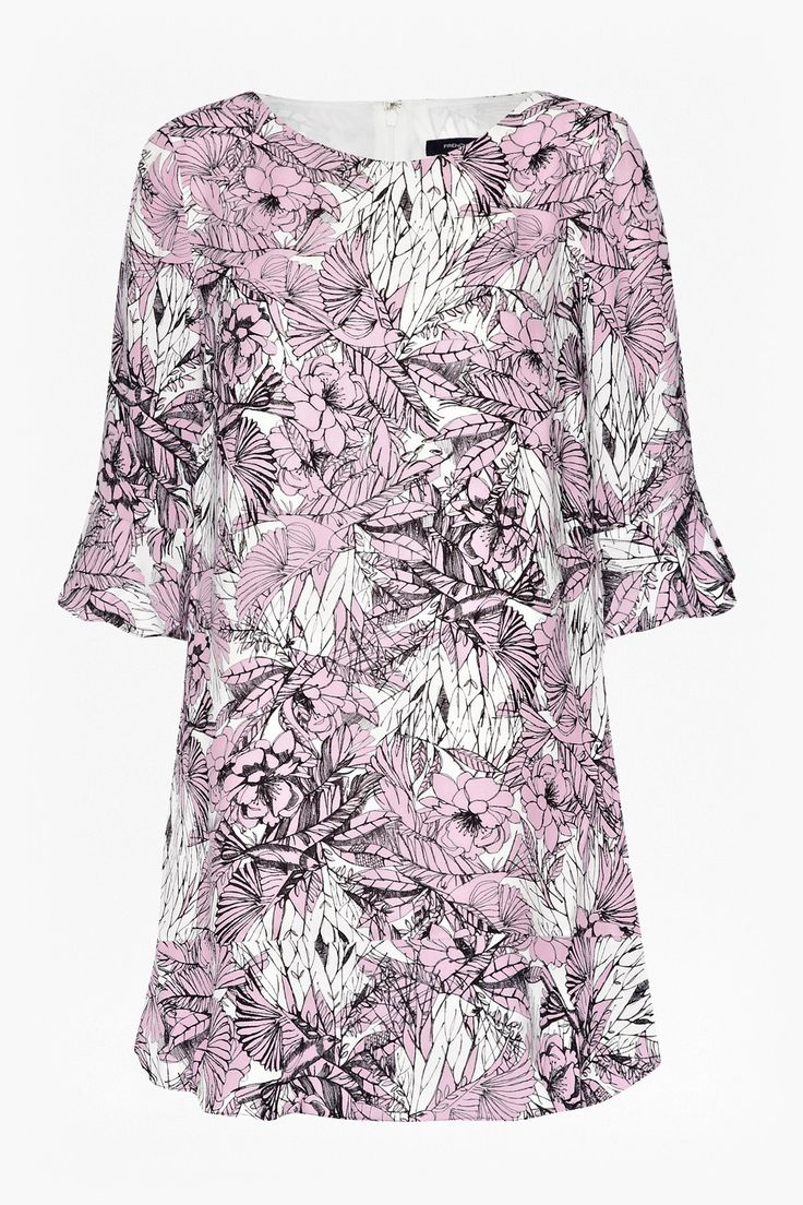 "<ul> <li> Printed shift dress</li> <li> Floral and foliage print</li> <li> Round neckline</li> <li> 3/4 length sleeves with fluted sleeves</li> <li> Ruffled hemline with crossover detail</li> <li> Concealed centre back zip with hook and eye fastening</li> <li> UK size 10 length is 78.5cm</li> </ul>  <strong>Our model is 5ft 10.5"" and is wearin..."
