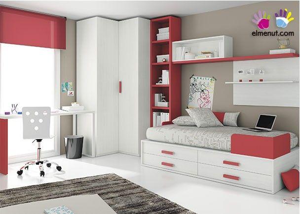 Dormitorio Juvenil compacto Tarima y armario