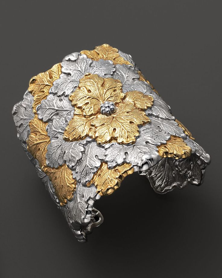 Buccellati No Color Wide Vine Leaf Cuff Bracelet With Gold