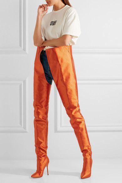 Vetements - Manolo Blahnik Satin Boots - Bright orange https://twitter.com/ShoesEgminfmn/status/895096209521557504
