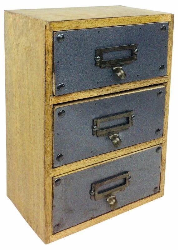 3 Drawer Cabinet Wooden Storage Unit Organizer Grey Metal Office