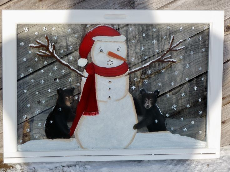 Panes of Art by Michele L. Mueller Hand painted window art. This snowman can't stand still enough with two cubs tugging at him from every direction. Please visit the website for details regarding price, size, availability, etc. www.panes-of-art.com