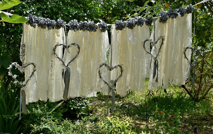 Boho Wedding Decor, Wedding Backdrop Curtain, Boho Garland, Boho Bridal Shower Decor, Shabby Chic Bohemian Wedding Banner, Heart Garland