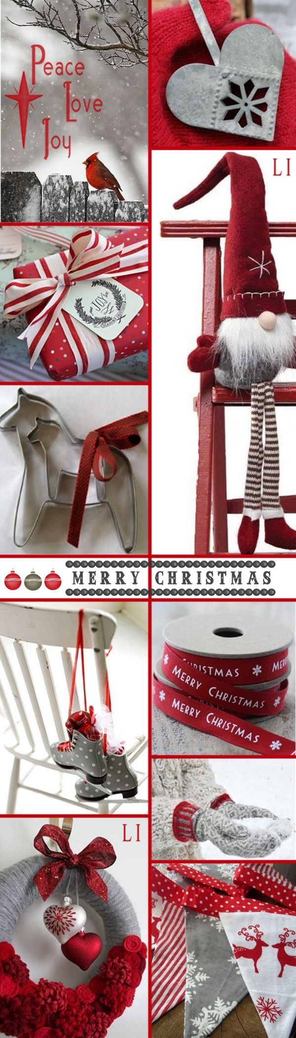 Christmas in red and silver gray