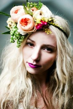 vibrant lipstick and floral crown