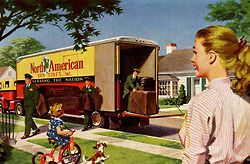 Moving Day - detail from 1955 North American Van Lines ad.