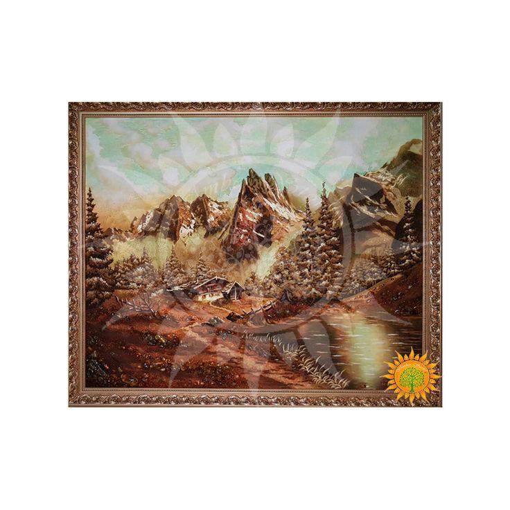 Картина из янтаря Горный пейзаж дарует чувство прекрасного, вдохновляет наслаждаться жизнью и любить её каждый день и самостоятельно находить чудеса