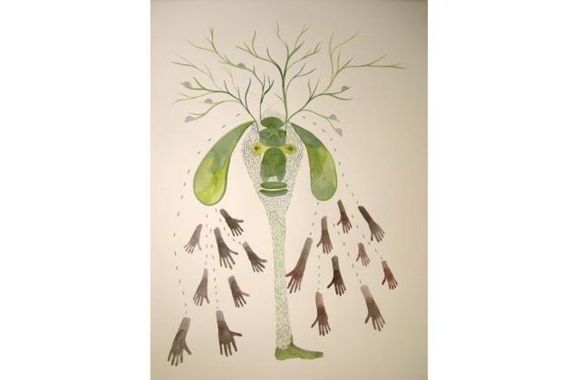 Erik Jerezano | 17 hands and 68 flies |Encre et aquarelle sur papier (ink and watercolour on paper) |2008