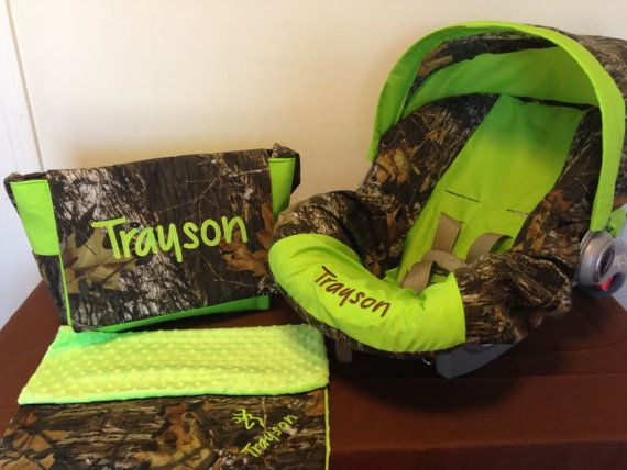 3 Piece Set MOSSY OAK CAMO fabric & lime green infant Car Seat Cover with Canopy/Visor and Diaper Bag and Huggy Blanket with Free Monogram on Etsy, $115.00