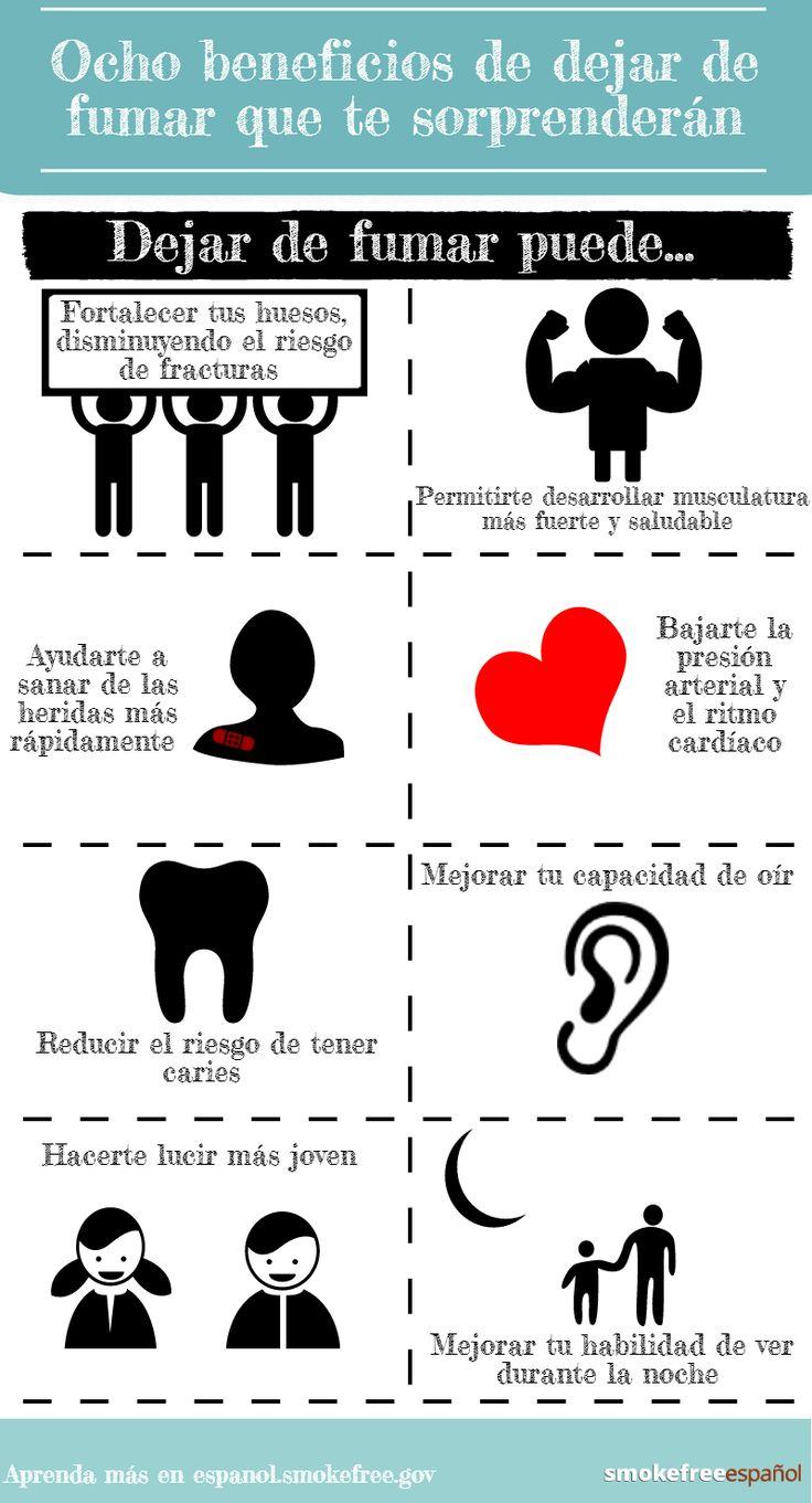 Aqui hay algunos de los mucho beneficios de dejar de fumar.