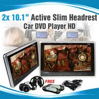 2x10.1 inch Slim Active Car headrest DVD Player HD Digital TFT Screen HDMI Game
