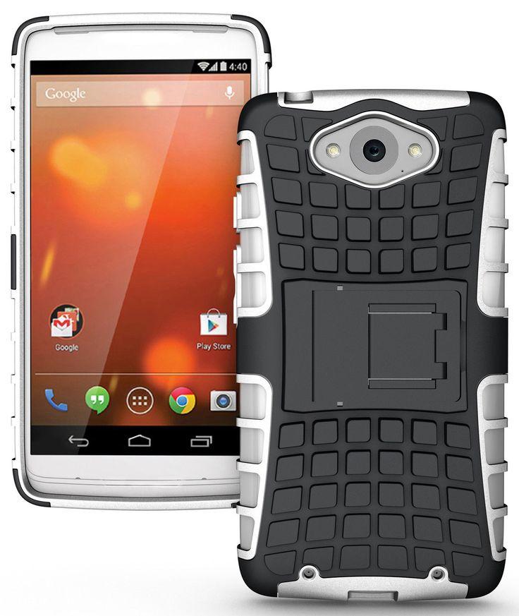MOTOROLA DROID TURBO CASE, TPU PRIME DUAL LAYER COVER WITH KICKSTAND (WHITE)   #cellphonegadgets #mobileaccessories www.kuteckusa.com