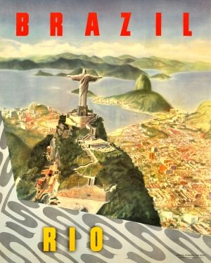 Brazil Rio de Janeiro, 1950s - original vintage poster listed on AntikBar.co.uk