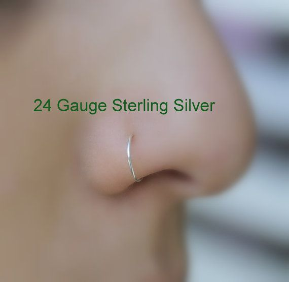 Extra Small Sterling Silver Nose ring/Hoop Earring 24 Gauge 7mm Inner Diameter Cartilage/Endless/seamless/catchless/tragus/helix