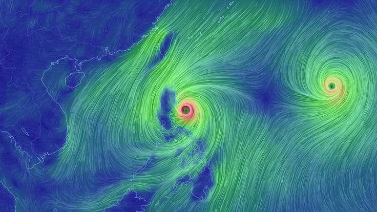 Wind speed map showing typhoon Koppu