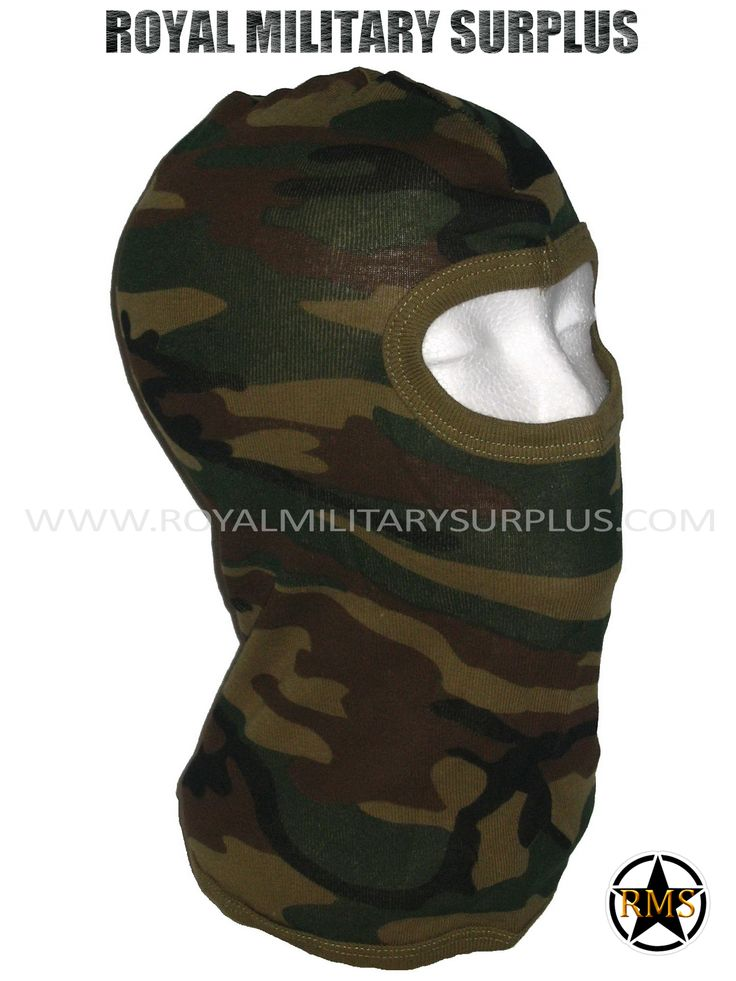 This US WOODLAND Camouflage Pattern Military Balaclava / Hood is in use by US Marines/Army. Made following Military Specifications (1 Hole Style). All items are brand new and available. In use by Army, Military, Police and Special Forces of International Forces. Visit our Website at www.royalmilitarysurplus.com