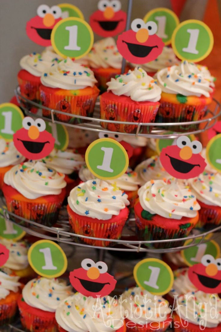 {Artistic Anya Designs} Elmo & Sesame Street 1st Birthday-Elmo and Sesame Street #1 cupcake toppers