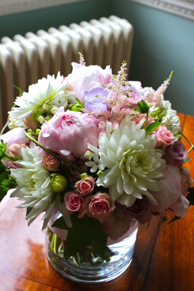 Dahlias, Peonies, campanula, roses, astilbe, roses and bouvardia - www.evelyncoleflowers.co.uk